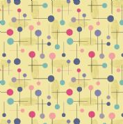 Lewis & Irene - Cocktail Party - 6538 - Cocktail Pins Geometric on Yellow - A353.2 - Cotton Fabric